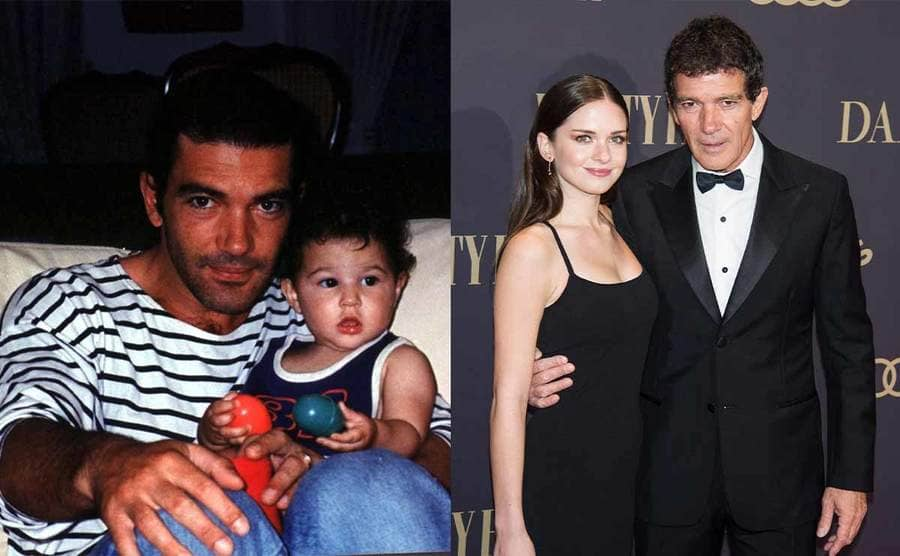 Antonio Banderas holding Stella as a baby while she plays with toys / Stella and Antonio Banderas posing together on the red carpet