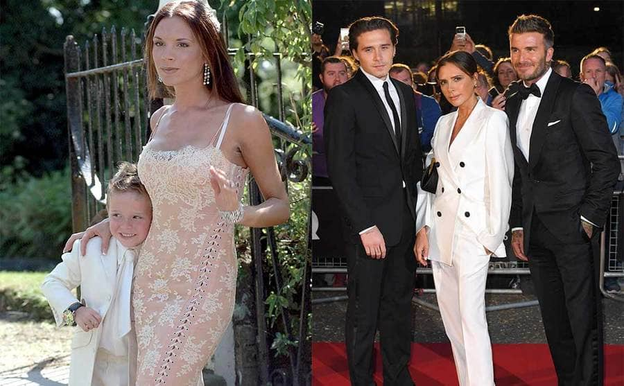 Victoria Beckham with Brooklyn Beckham posing together in fancy clothing / Brooklyn, Victoria, and David Beckham on the red carpet in 2019