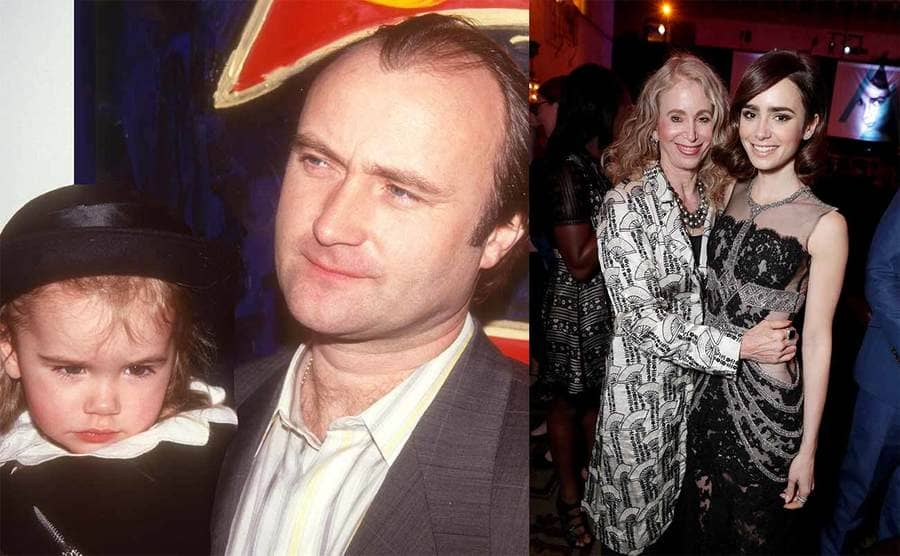 Lily and Phil Collins when she was a baby / Lily Collins posing with her mother on the red carpet in 2016