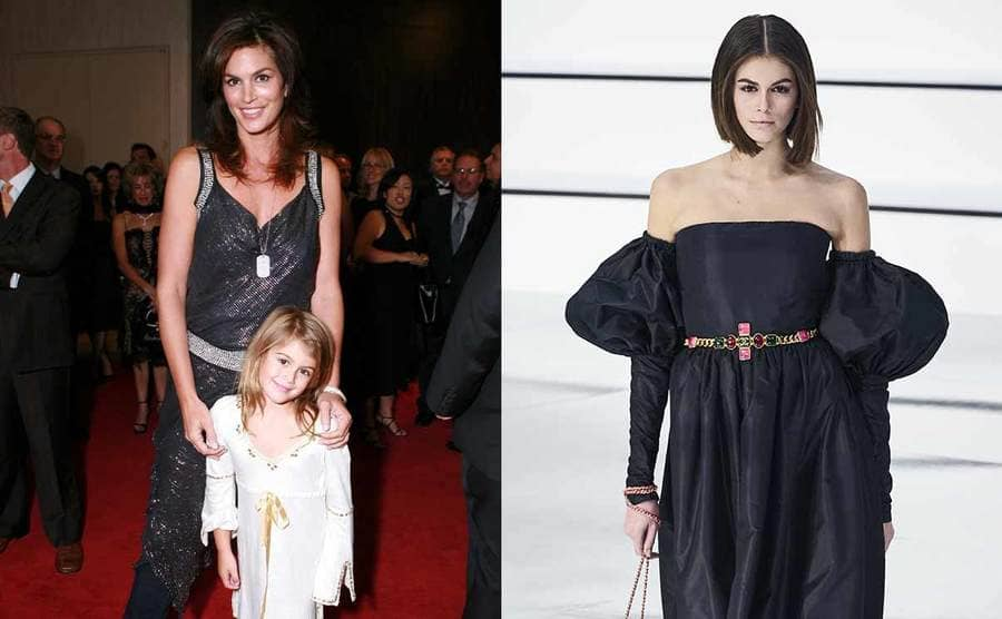 Cindy Crawford and Kaia Gerber posing on the red carpet when Kaia was young / Kaia Gerber walking the catwalk in a long black strapless dress with puffy sleeves starting above her elbows