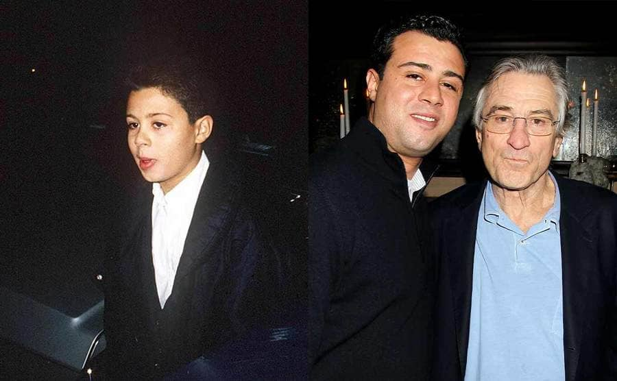 Raphael De Niro as a young boy / Raphael and Robert De Niro on the red carpet in 2013