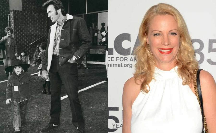 Alison and Clint Eastwood on the set of one of his movies when she was a young girl / Alison Eastwood on the red carpet in 2019