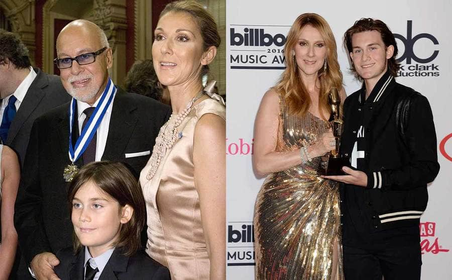 Rene Angelil, Celine Dion, and their son Rene-Charles when he was a young boy / Cline Dion and Rene-Charles Angelil on the red carpet holding her award