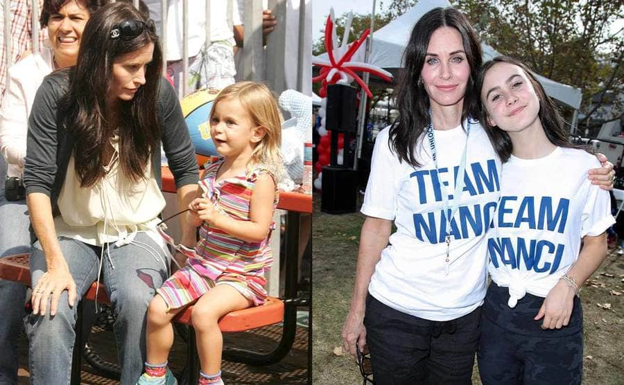 Courteney Cox and her daughter Coco sitting at a picnic table when she was a young girl / Courteney Cox and Coco doing a walk for a cause in 2018