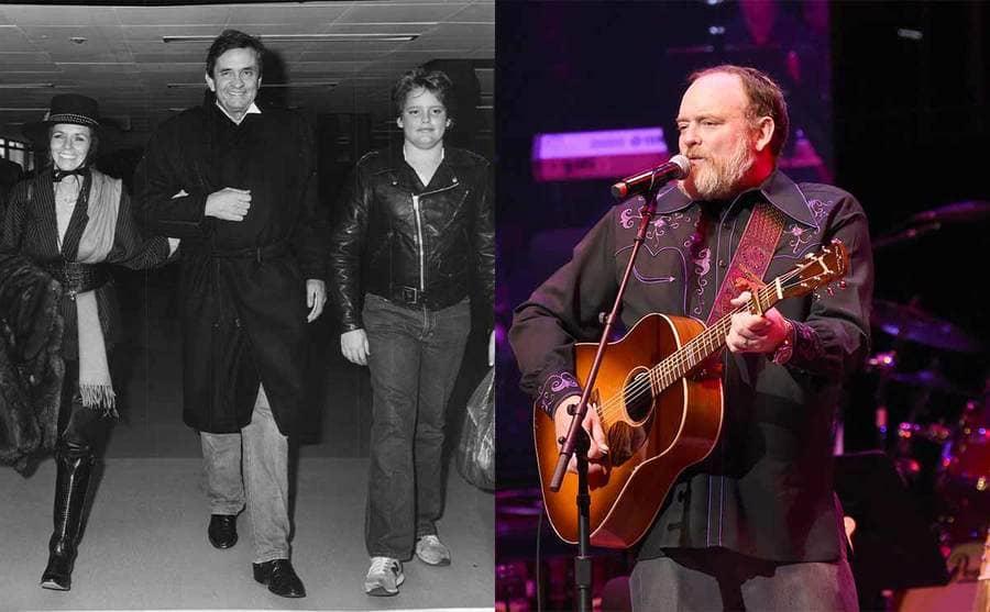 June Carter, Johnny, and John Carter Cash walking through the airport in 1983 / John Carter Cash performing in 2019