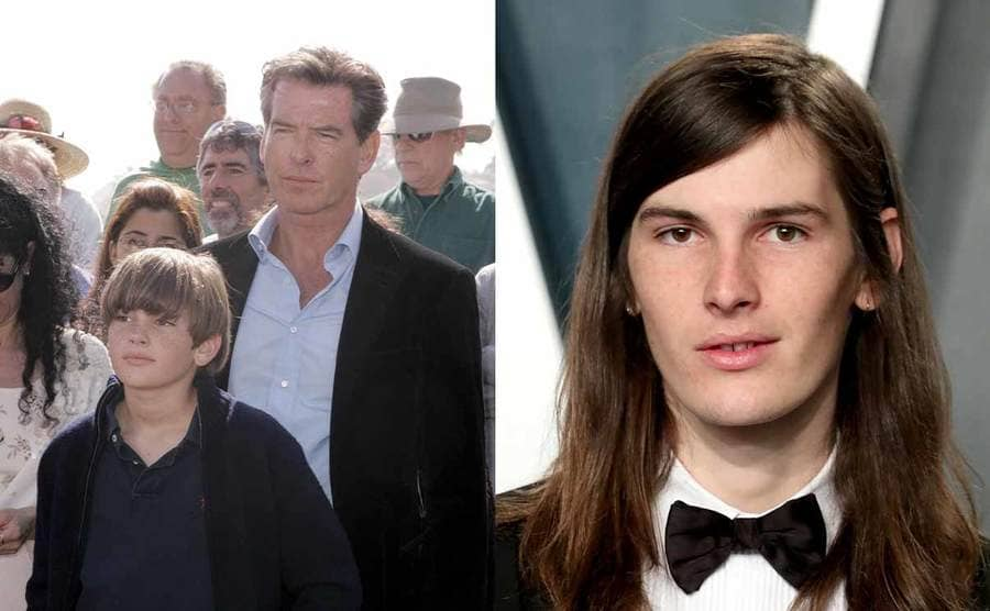 Pierce Brosnan with Dylan at an event in 2007 / Dylan Brosnan on the red carpet in a tuxedo with long hair in 2020