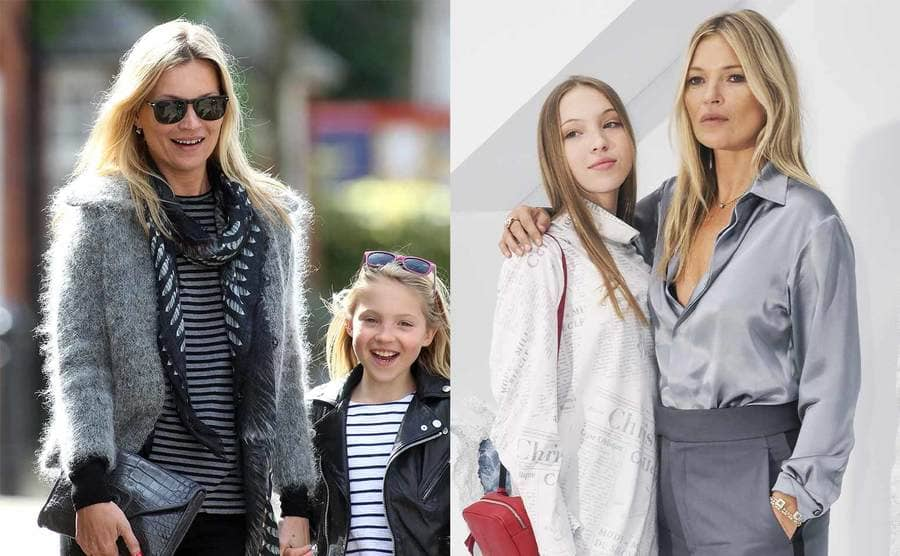 Kate Moss and Lila Grace Moss Hack walking around London in 2012 / Lila Grace Moss Hack and Kate Moss on the red carpet posing together in 2019