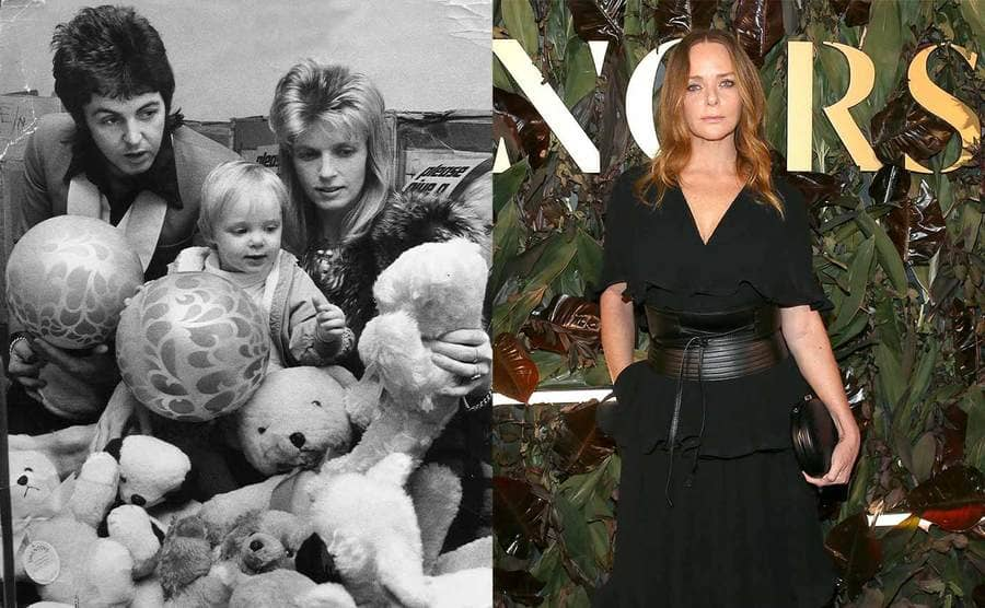 Paul, Stella, and Linda McCartney photographed in a pile of stuffed animals when Stella was 2 years old / Stella McCartney on the red carpet in front of a green floral wall in 2019