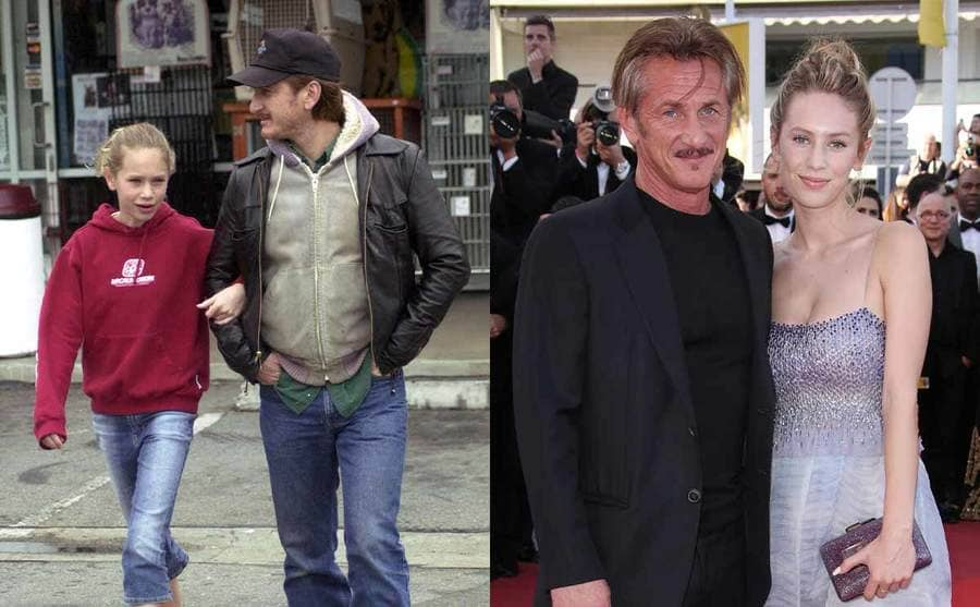 Dylan and Sean Penn when she was a teenager walking around LA / Sean and Dylan Penn on the red carpet in 2019