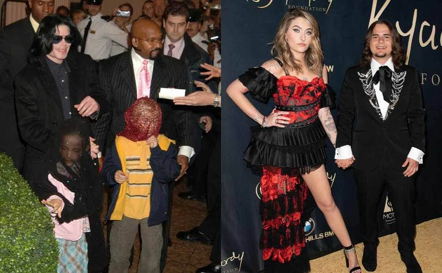 Michael Jackson with Paris and Prince when they were young with their faces covered / Paris and Prince Jackson on the red carpet in 2019