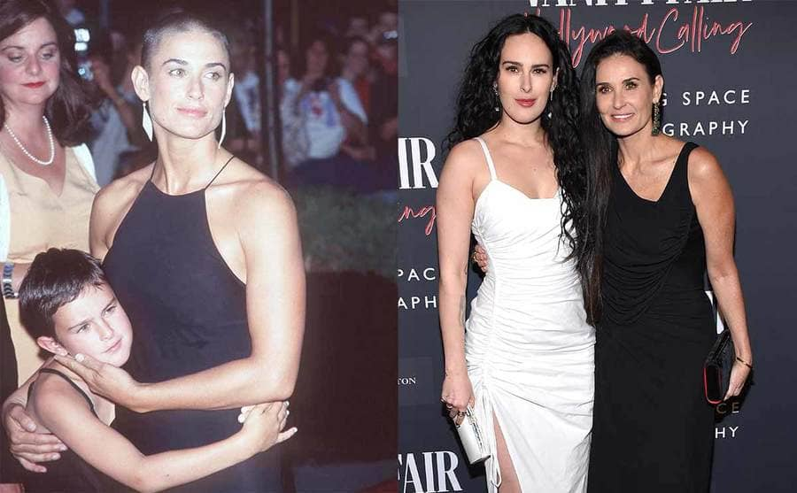 Demi Moore and Rumer Willis on the red carpet back in the early 2000s / Rumer Willis and Demi Moore on the red carpet in 2020