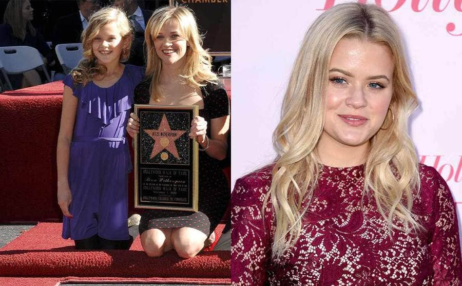 Ava Phillippe and Reese Witherspoon holding her star on the Walk of Fame / Ava Phillippe on the red carpet in 2019
