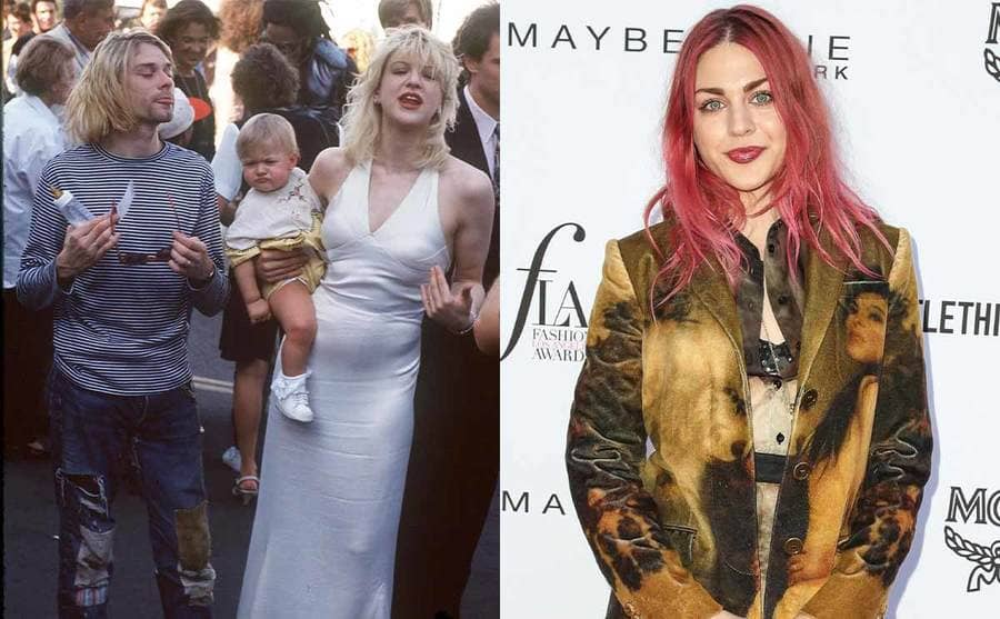 Kurt Cobain, Frances Bean, and Courtney Love circa 1993 / Frances Bean Cobain with pink hair posing on the red carpet in 2018