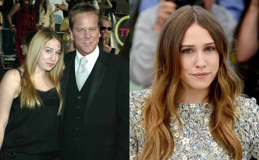 Sarah Sutherland with Kiefer Sutherland on the red carpet in 2003 / Sarah Sutherland on the red carpet in 2013
