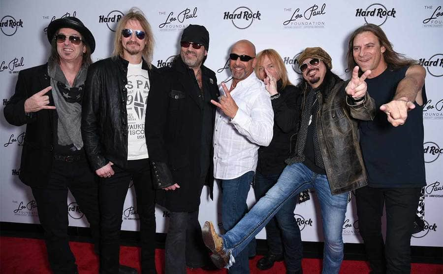 Barry Barnes, Stoney Kurtis, Danny Koker, John Zito, Paul DiSibio, and Tommy Paris of Count's 77 posing on the red carpet