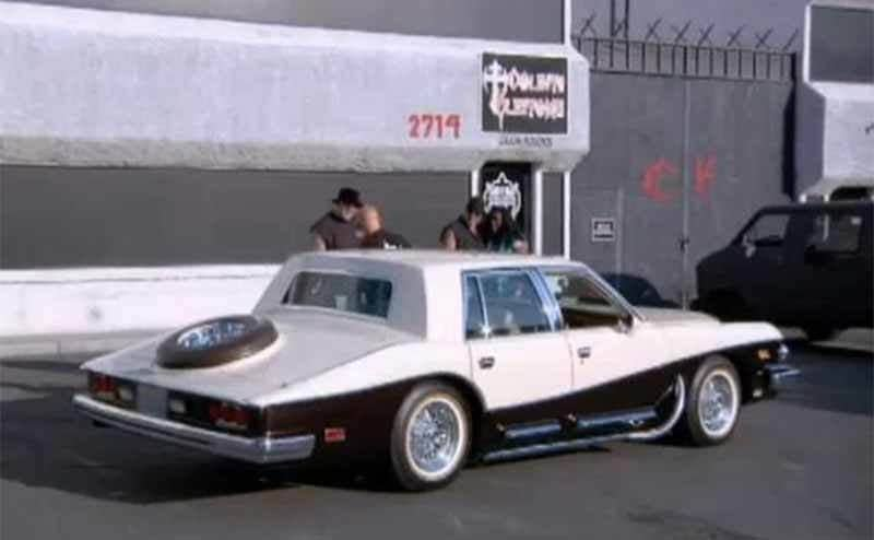 The 1979 Stutz sitting in the counting cars parking lot