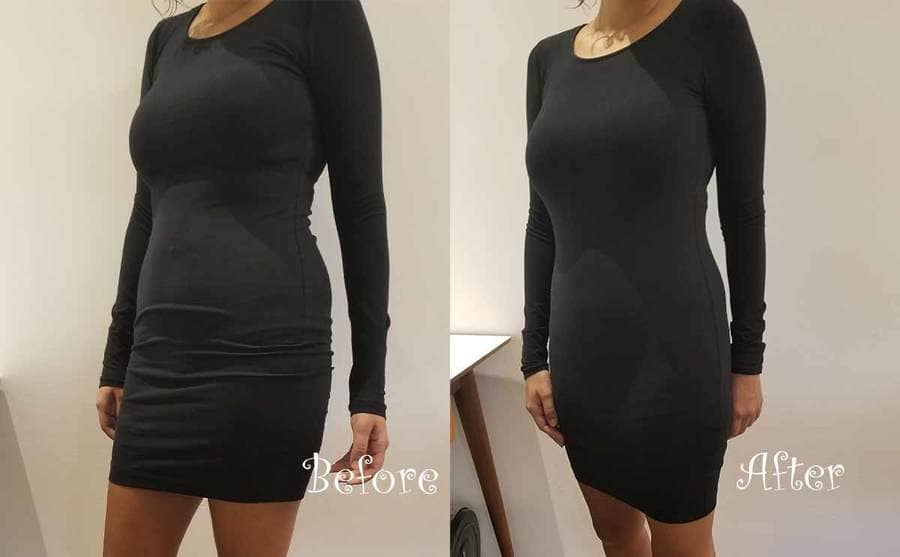 A before and after photograph of a woman wearing a black dress with underoutfit