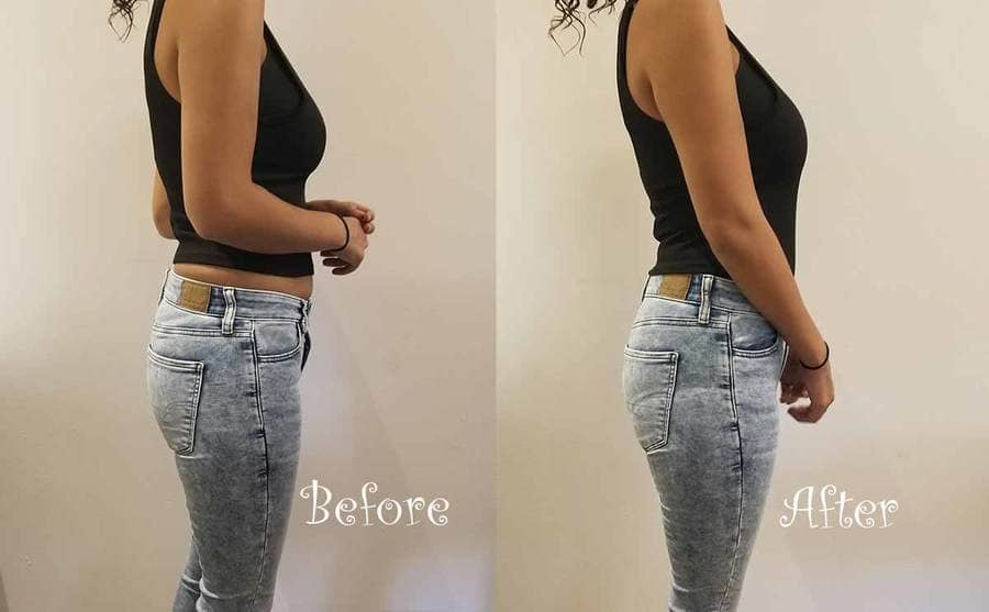 A before and after shot of a woman wearing underoutfit underneath jeans and a tank top