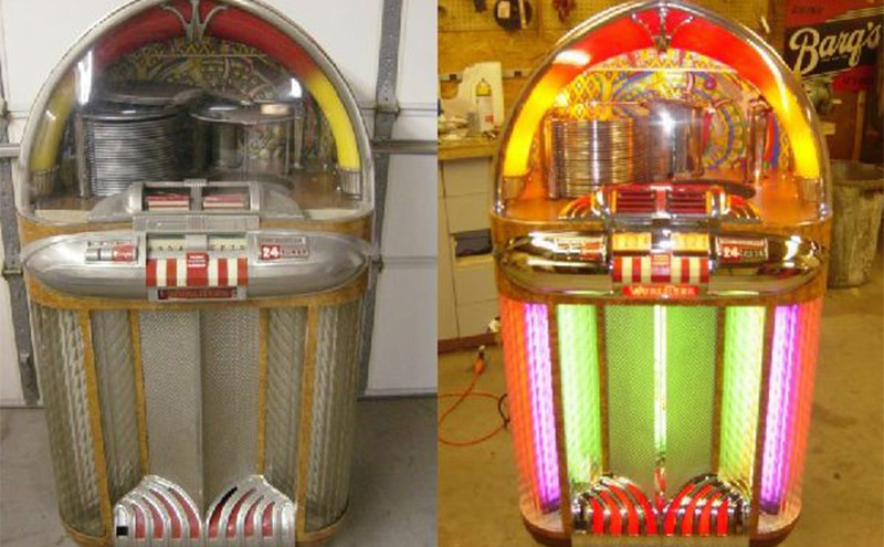 A before and after photograph of a restored jukebox