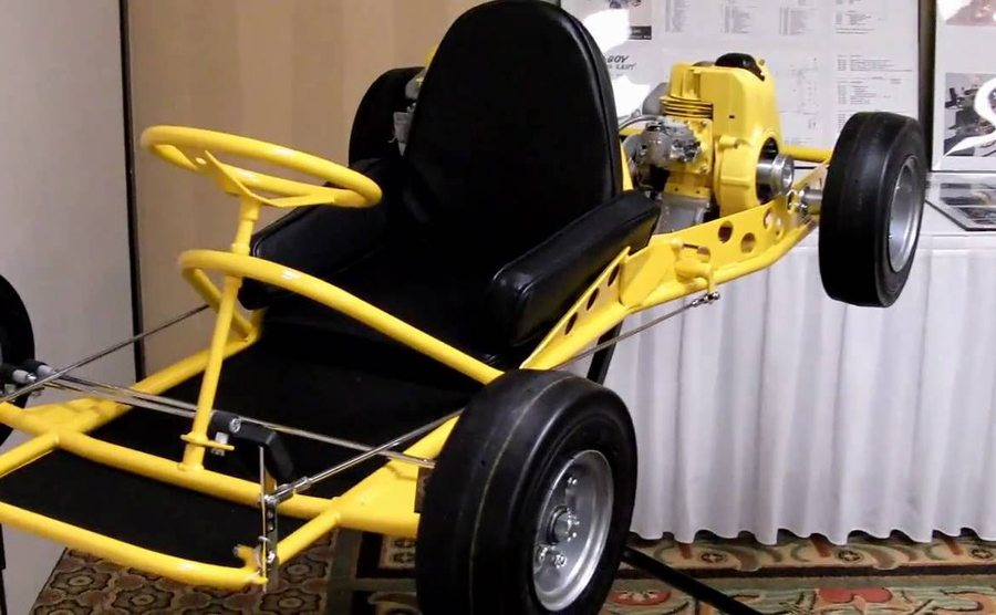 A vintage McCulloch Go-Kart in yellow