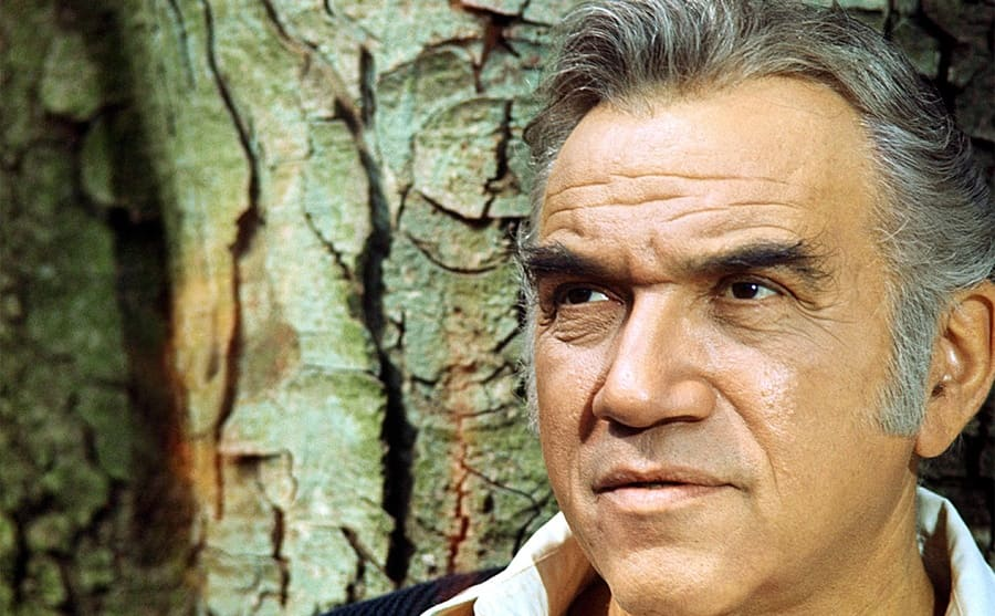 Lorne Greene in Bonanza photographed against a tree