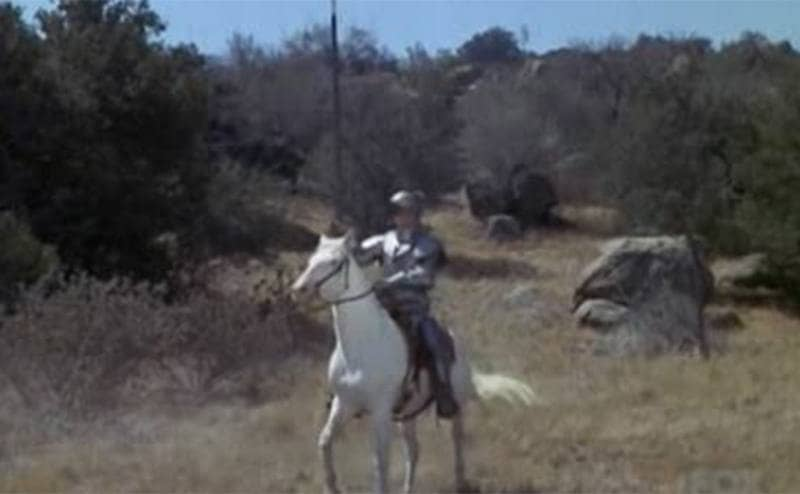 The knight in shining armor riding in an episode of Bonanza