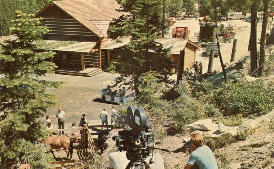 Production crew and video cameras set up around the Ponderosa Ranch theme park