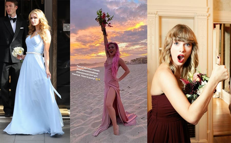 Paris Hilton in the light blue maxi dress / Lady Gaga posing alone on the beach in her pink bridesmaid's dress / Taylor Swift and Britany Mack posing on Britany's wedding day