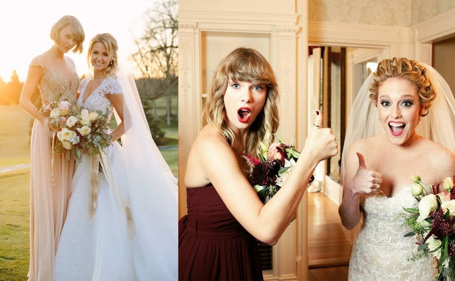 Taylor Swift giving a thumbs up with Abigail in a wedding gown / Taylor Swift and Britany Mack posing on Britany's wedding day