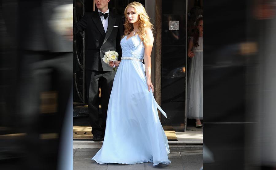 Paris Hilton in the light blue maxi dress