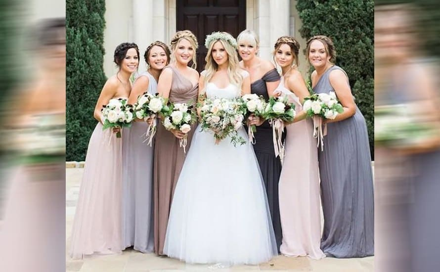 Ashley Tisdale surrounded by her bridesmaids, including Vanessa Hudgens