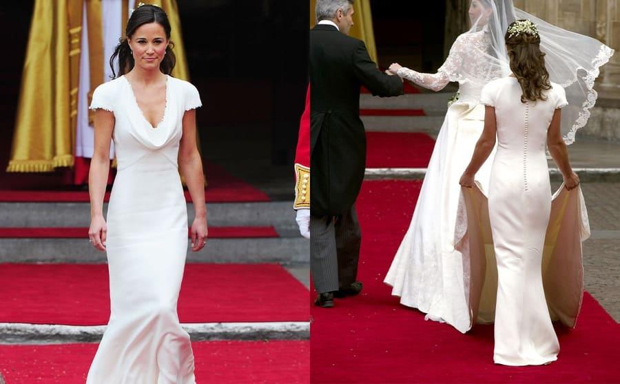 Pippa Middleton in her white v-neck bridesmaids dress / Pippa Middleton holding up Kate's wedding dress train while she walks