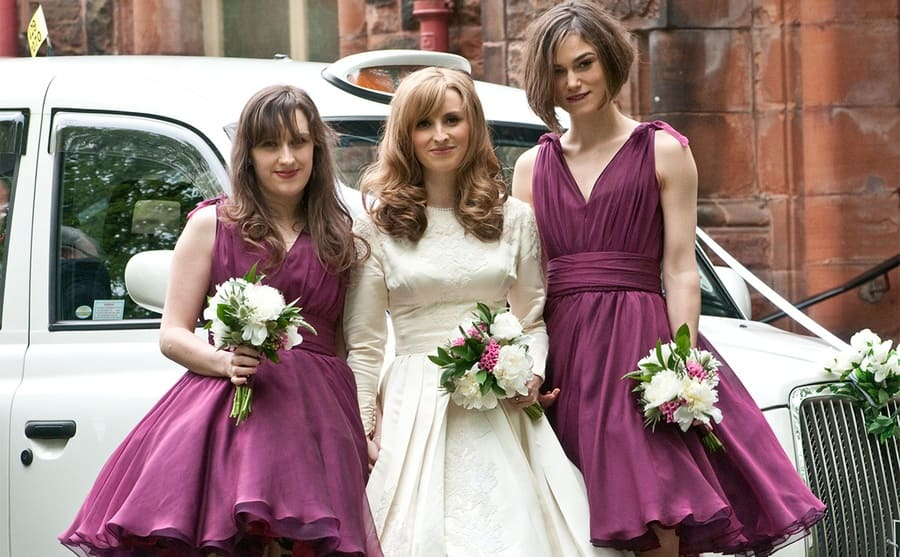 Kerry Nixon with two of her bridesmaids, including Keira Knightley