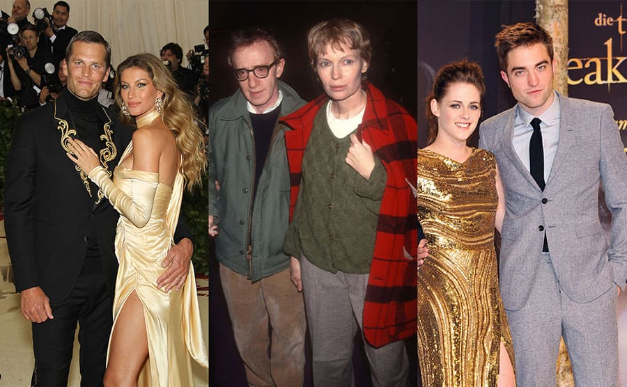 Tom Brady and Gisele Bundchen on the red carpet in 2018/ Adam Scull, photolink, Shutterstock / Kristen Stewart and Robert Pattinson on the red carpet in 2012 / Woody Allen and Mia Farrow out and about in the early '90s