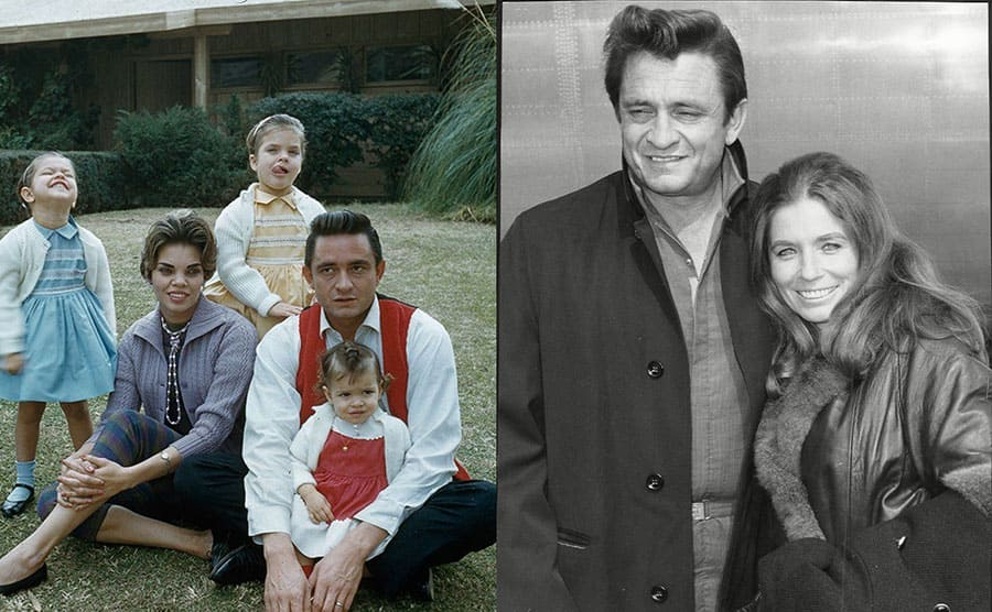 Johnny Cash and Vivian Liberto with their kids / Johnny Cash and June Carter posing together