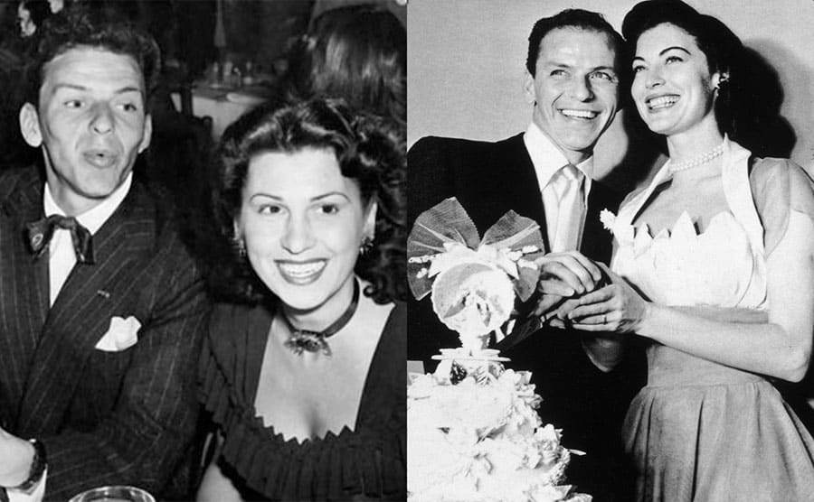 Frank and Nancy Sinatra at a black-tie event / Frank Sinatra and Ava Gardner cutting the cake on their wedding day