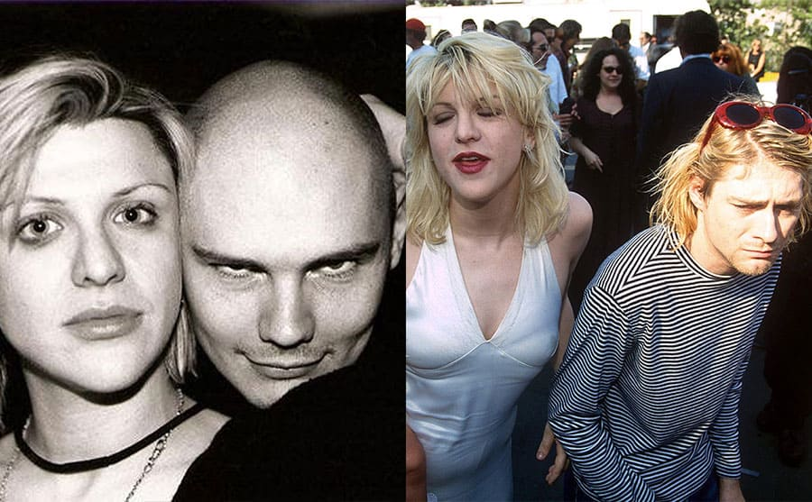 Courtney Love and Billy Corgan posing together / Courtney Love and Kurt Cobain with Frances Bean