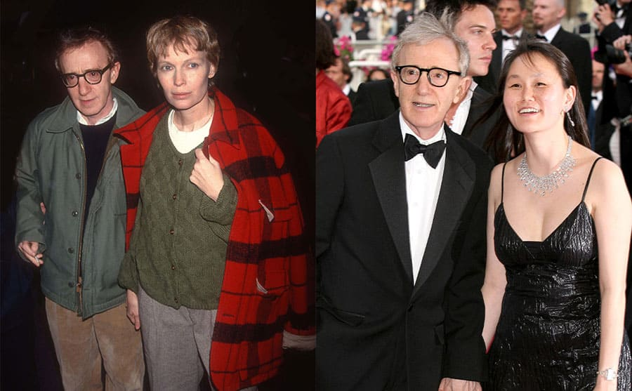 Woody Allen and Mia Farrow out and about in the early '90s / Woody Allen and Soon Yi Previn on the red carpet in 2005