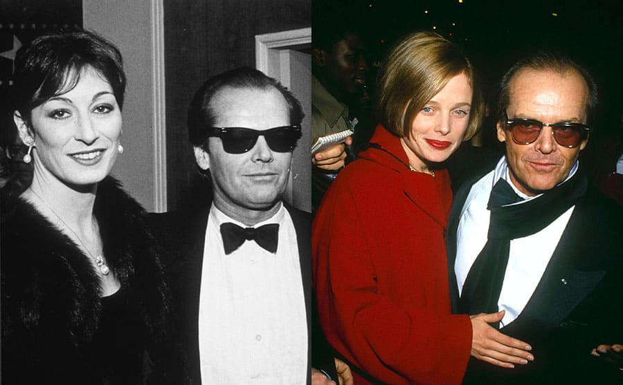 Anjelica Huston and Jack Nicholson on the red carpet 1983 / Jack Nicholson and Rebecca Broussard on the red carpet in 1991