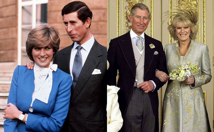 Prince Charles with Camilla Shand on their wedding day / Princess Diana and Prince Charles posing on their engagement day