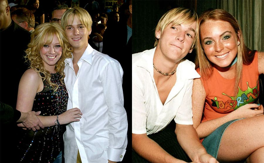 Hilary Duff and Aaron Carter on the red carpet in 2003 / Aaron Carter and Lindsay Lohan at a party