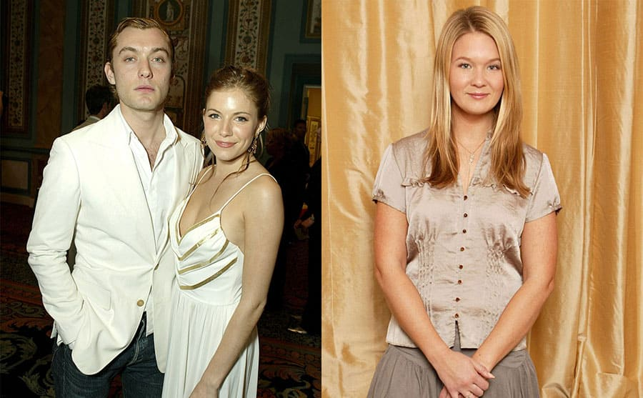 Jude Law and Sienna Miller on the red carpet in 2004 / Daisy Wright posing in front of a gold curtain