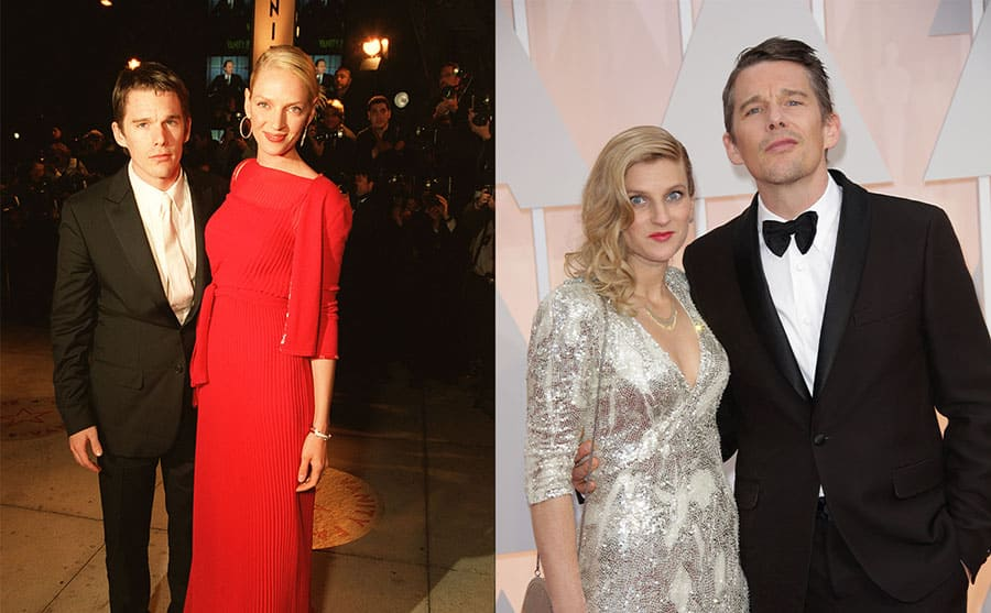 Ethan Hawke and Uma Thurman on the red carpet in 2000 / Ryan Shawhughes and Ethan Hawke on the red carpet in 2015