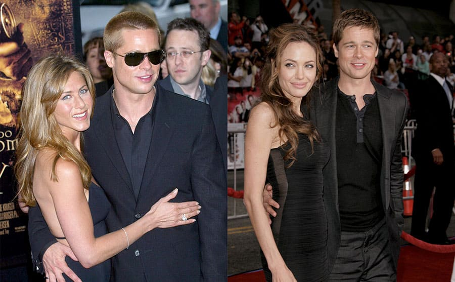 Jennifer Aniston and Brad Pitt on the red carpet in 2004 / Angelina Jolie and Brad Pitt on the red carpet in 2007