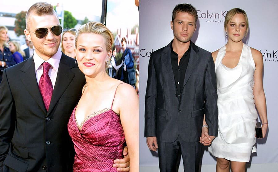 Ryan Phillippe and Reese Witherspoon on the red carpet in 2001 / Ryan Phillippe and Abbie Cornish on the red carpet in 2010