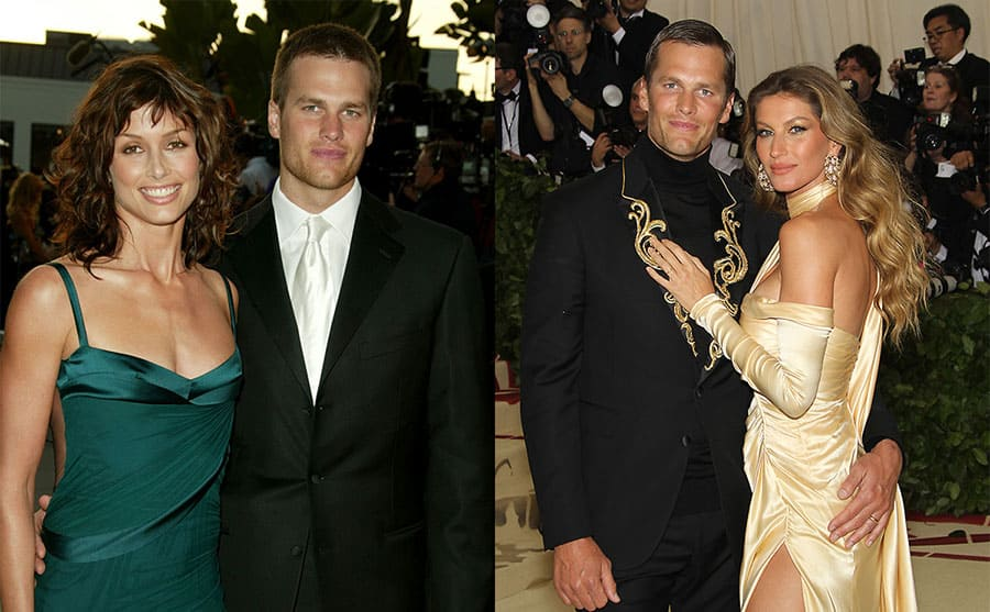 Bridget Moynahan and Tom Brady on the red carpet in 2005 / Tom Brady and Gisele Bundchen on the red carpet in 2018