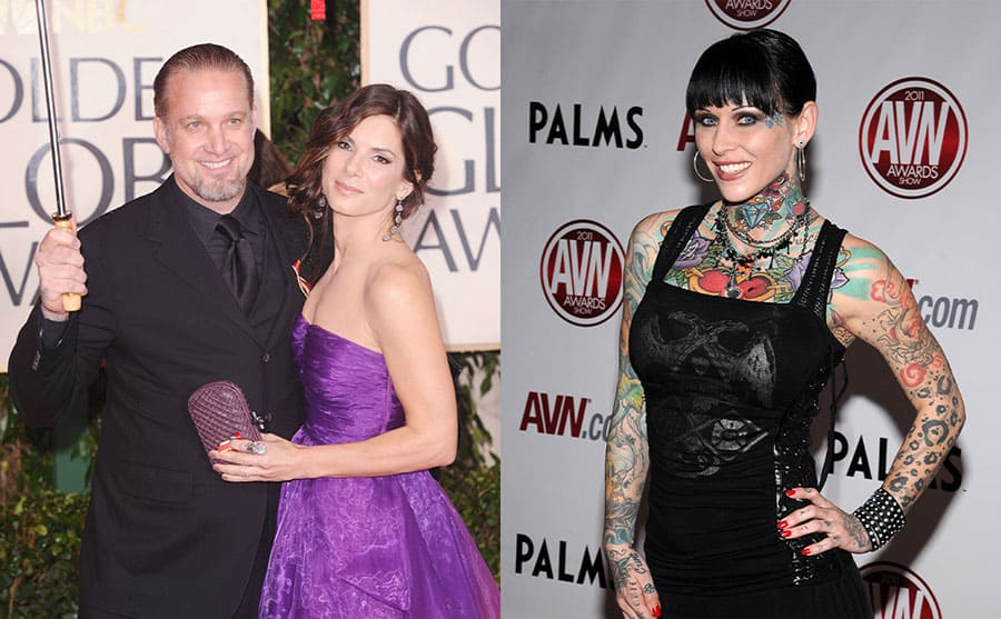 Jesse James holding an umbrella over Sandra Bullock on the red carpet in 2010 / Michelle McGee on the red carpet in 2011