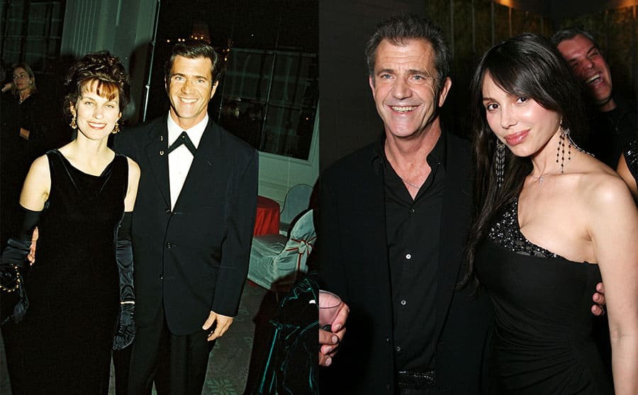 Robyn Moore and Mel Gibson on the red carpet in 1993 / Mel Gibson and Oksana Grigorieva on the red carpet in 2010