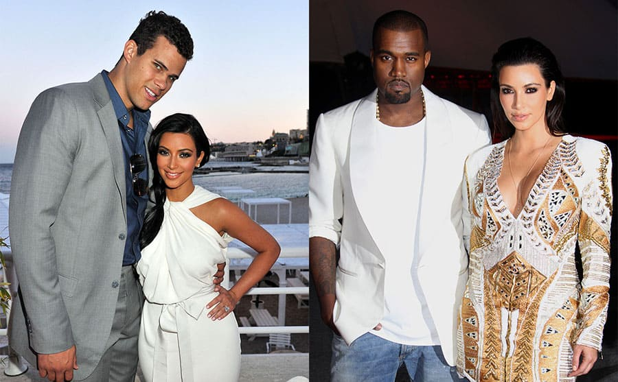 Kris Humphries and Kim Kardashian posing together in 2011 / Kanye West and Kim Kardashian at an event together in 2012