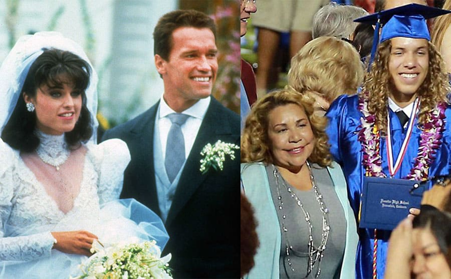 Maria Shriver and Arnold Schwarzenegger on their wedding day 1986 / Mildred Beana with their son Joseph on his graduation day